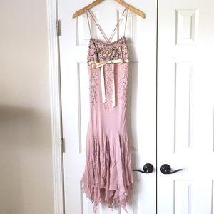 Sue Wong beaded mauve embellished ruffle dress